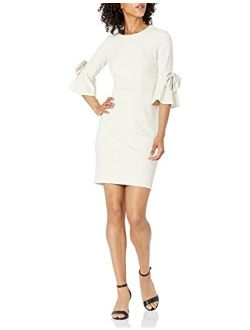 Women's 3/4 Bell Sleeve Shift Dress With Bow Detail
