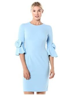 Women's Stretch Crepe 3/4 Bell Sleeve Sheath Dress
