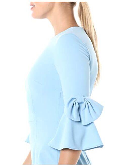 Donna Morgan Women's Stretch Crepe 3/4 Bell Sleeve Sheath Dress