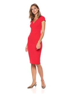 Women's Cap Sleeve Stretch Crepe Sheath Dress