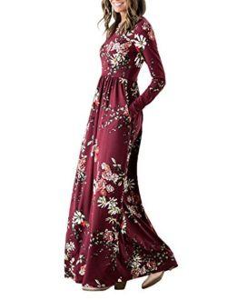 Women's Floral Print Long Sleeve Pockets Empire Waist Pleated Long Maxi Dress