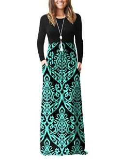 Women's Long Sleeve Loose Plain Maxi Dresses Casual Long Dresses With Pockets