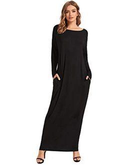 Women's Long Sleeve Pocketed Loose Long Lounge Maxi Dress
