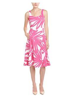 Women's Sleeveless Palm Print Midi Dress
