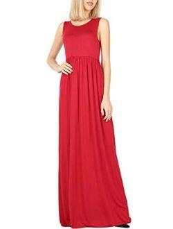 Bon Rosy Women's Soft Touch High Waist Solid Tank Top Jersey Maxi Dress w/Side Pocket