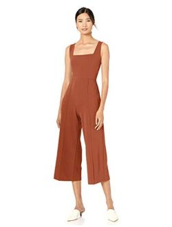 Women's Square Neck Crepe Sleeveless Cropped Jumpsuit