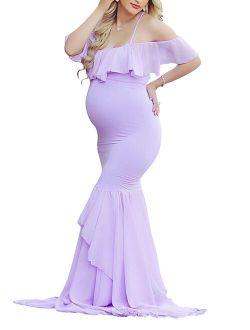 Maternity Elegant Ruffle Off Shoulder Mermaid Gown Maxi Photography Dress