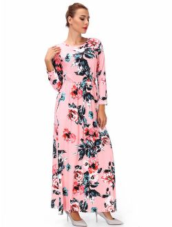 Women's Maternity Hight Waistline Long Sleeve Maxi Dress Ink Painting Floral With Pocket