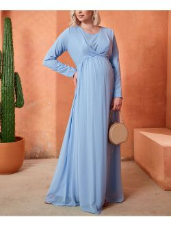 Gor&Sin   Blue Long-Sleeve Twist-Front Maternity Maxi Dress