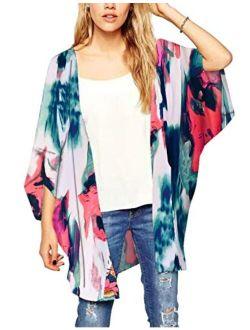 Chunoy Women Casual Tie Dyed Chiffon Kimono Cover Up Beach Wear Blouse Top