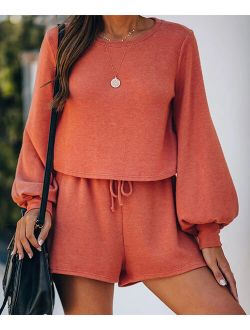Orange Puff-Sleeve Top & Drawstring-Waist Shorts - Women