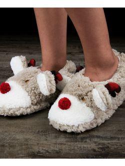 Cosyone 1997   Beige & Red Reindeer Fuzzy Slipper - Women