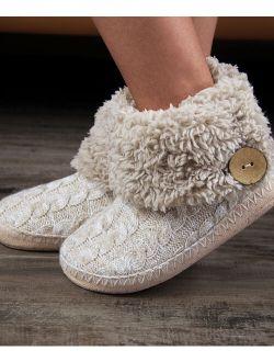 Cosyone 1997 | Beige Cable-Knit Button-Cuff Slipper Boot - Women