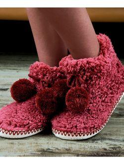 Cosyone 1997 | Burgundy Fuzzy Pom-Pom Slipper Boots - Women