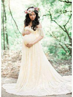 2019 hot sales Pregnant Women Off Shoulder Lace Long Maxi Dress Gown Maternity Photography Prop