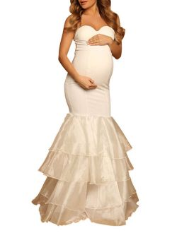 Maternity Off Shoulder Sweetheart Fitted Gown Mermaid Maxi Photography Dress For Photoshoot