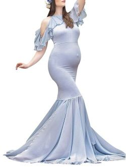 Women Cold Shoulder High Neck Ruffles Mermaid Maternity Gown Maxi Photography Dress