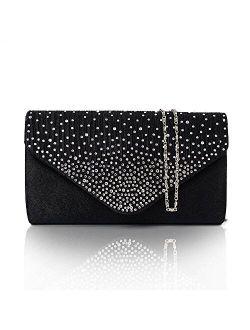 Diamonte Envelope Clutch Shoulder Bag Purse Womens Fashion - 11 Colours