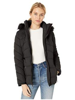 Women's Hooded Quilted Puffer Jacket With Removable Faux Fur Trim