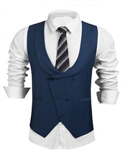 Men's Formal Suit Vest Business Waistcoat Double Breasted U-neck Shawl Collar Slim Fit Waistcoat For Suit Tuxedo