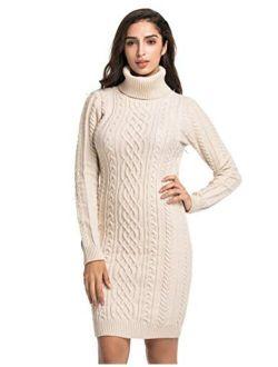 Women's Sweater Dress Cable Knit Slim Fit Turtleneck Sweater