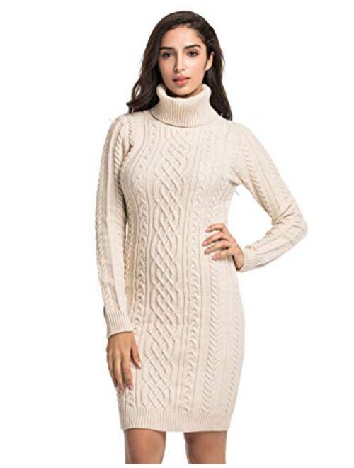 PrettyGuide Women's Sweater Dress Cable Knit Slim Fit Turtleneck Sweater