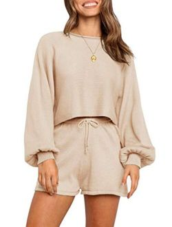 Women's Casual Long Sleeve Solid Color Knit Pullover Sweatsuit 2 Piece Short Sweater Outfits Sets