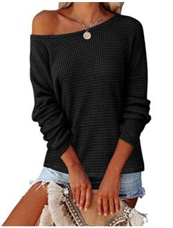 Womens Long Balloon Sleeve Waffle Knit Tops Crew Neck Oversized Sweater Pullover