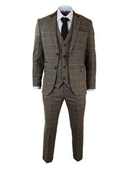 Marc Darcy Mens Check Vintage Herringbone Tweed Tan Brown 3 Piece Suit Slim Fit Wedding tan 36