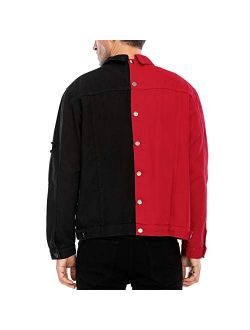 LZLER Jean Jacket for Men,Separable Left&Right Ripped Slim Fit Mens Denim Jacket