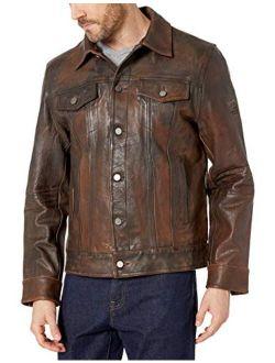 Boston Harbour Vintage Men's Trucker Button Front Jean Jacket