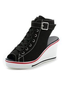 ACE SHOCK Women Summer Wedge Sandals Lightweight Peep Toe Sneakers Slingback High Heels Platform Sandals 8 Colors