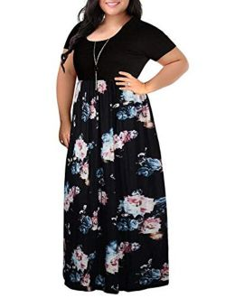 VISLILY Womens Floral Print Short Sleeve Plus Size Casual Maxi Dress with Pockets