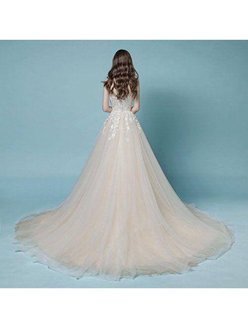Sleeveless Lace Wedding Dress A-line Long Bridal Gown Elegant Bride Wear