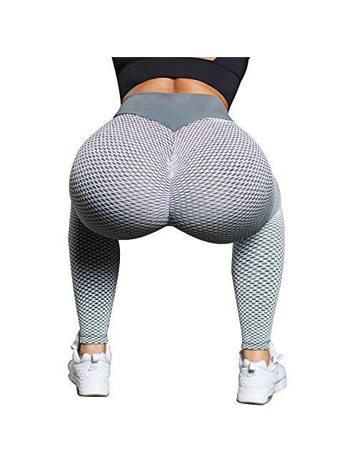 OMKAGI Women Scrunch Booty Leggings High Waisted Tummy Control Ruched Butt Lift Yoga Pants