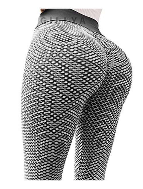 GILLYA Ruched Butt Lifting High Waist Textured Yoga Pants Tummy Control Workout Leggings
