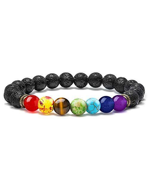 M MOOHAM Lava Rock Chakra Bracelet - 8mm Natural Stone Chakra Bead Volcanic Bracelet, Men Women Stress Relief Yoga Beads Aromatherapy Essential Oil Diffuser Elastic Brace