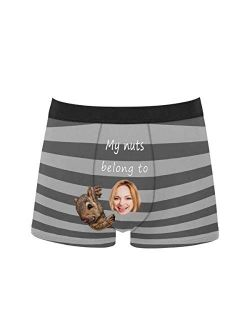 Custom Funny Face Boxers Briefs for Men Boyfriend, Customized Underwear with Picture My Nuts Belong to All Gray Stripe