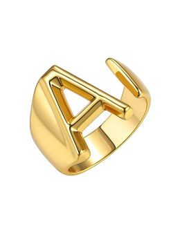 GoldChic Jewelry Personalized Gold Bold Initial Letter Open Ring Adjustable Women Statement Rings Party|Womens Signet Ring|18K Gold Plated Open Alphabet Rings|Letter A to
