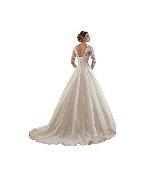 Sunweddingdress Women's Jewel Lace Applique Long Sleeve Chapel Wedding Dress