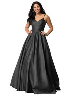 WuliDress Women's Strap A Line Satin Prom Dress Evening Party Dress Ruched Bodice