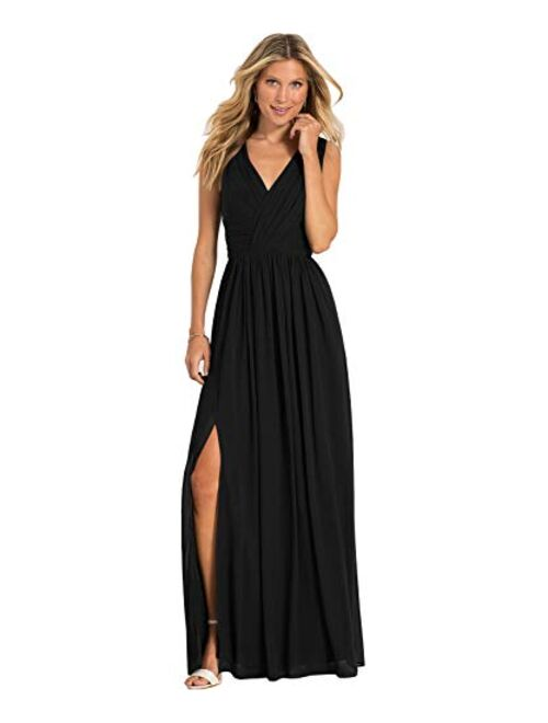 Yilis Women's V Neck Slit Chiffon Long Bridesmaid Dress A Line Pleated Formal Evening Prom Party Dress