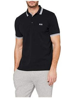 Green Paddy Modern Fit Pique Black Polo