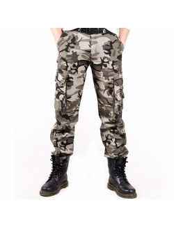 zeetoo Mens Relaxed-Fit Cargo Pants Multi Pocket Military Camo Combat Work Pants