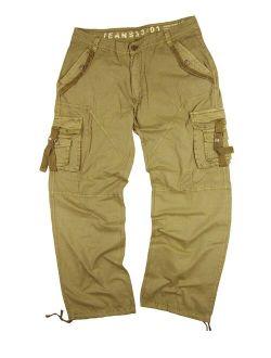 StoneTouch #A8- Men's Military-Style Cargo Pants 36x34--Khaki