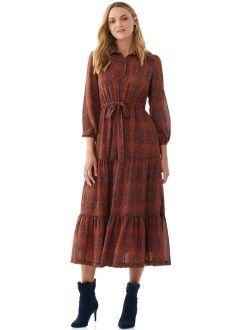 Women's Printed Maxi Shirt Dress