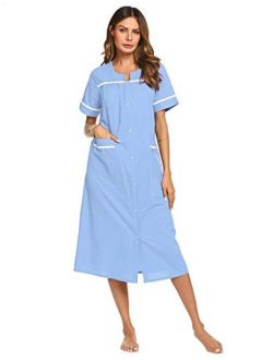 Women's Sleepwear Snap-front Duster/casual Nights/short Sleeve Duster/housecoat/house Dress Long Nightgown S-xxl