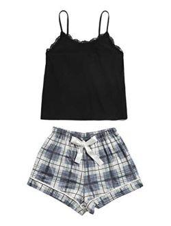 Women's Sleepwear Set Plaid Print Cami Top And Elastic Waist Short Pajama Set