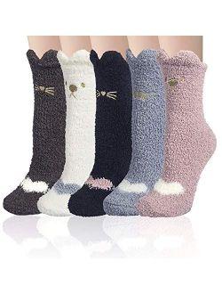 Fuzzy Socks for Women Winter Warm Slipper Cozy Fluffy Socks Cat Animal Christmas Gifts Home Sleeping Socks 5 Pairs