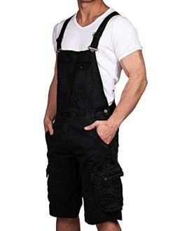 Makkrom Mens Bib Overalls Shorts Knee Length Lightweight Cargo Romper Jumpsuit Loose Fit Coverall